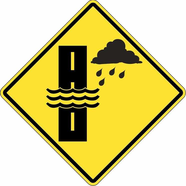 Water Flooding on Roadway Sign WC-50