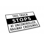 Truck Stops At All Railway Crossings - Label