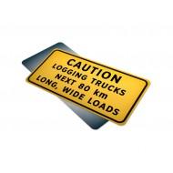 Caution Logging Trucks Next __ km Long Wide Loads