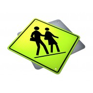 Left Side School Crosswalk Ahead