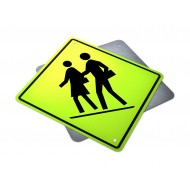 Right Side School Crosswalk Ahead