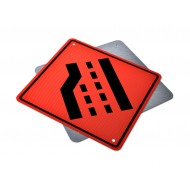 Road Narrows Left Lane Ends
